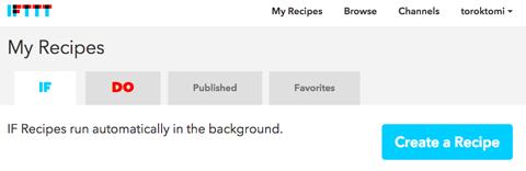ifttt create a recipe