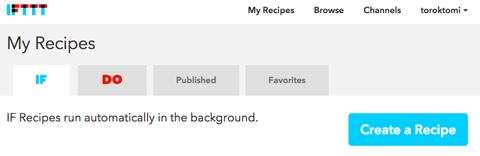 ifttt create a recipe