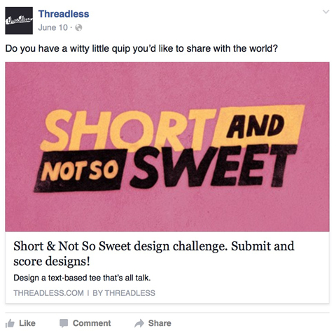 threadless facebook post
