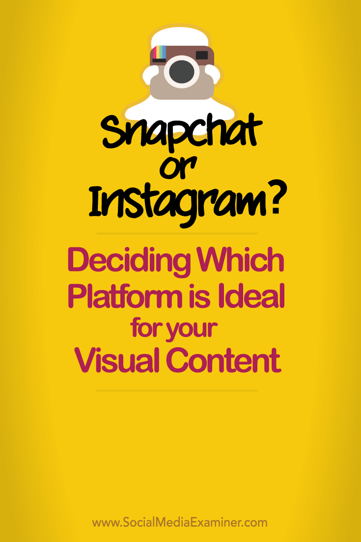 decide whether snapchat or instagram is ideal for your visual content