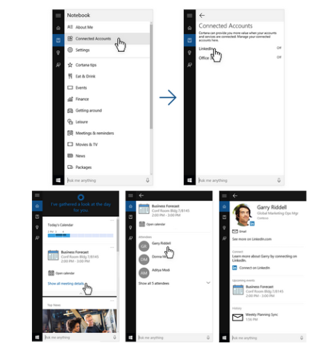 linkedin microsoft cortana integration