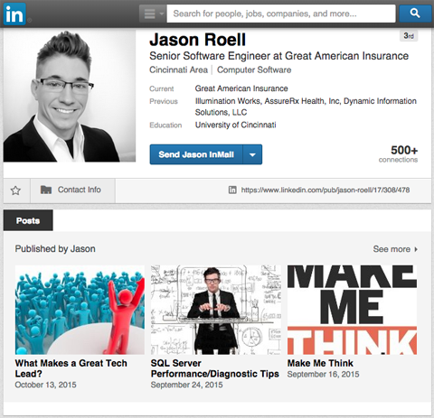 linkedin employee publisher post examples