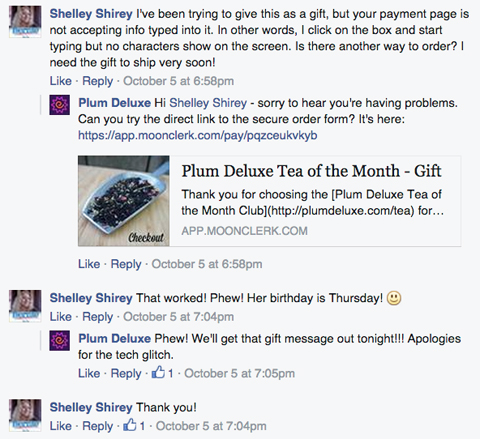 plum deluxe customer comment response