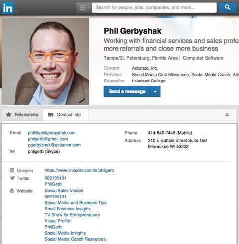 phil gerbyshak linkedin contact tab