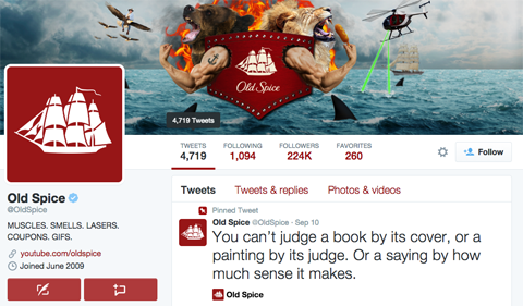 oldspice twitter profile