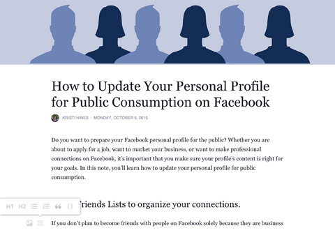 facebook profile notes editor formatting menu