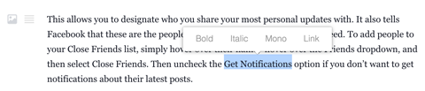 facebook profile notes editor formatting text