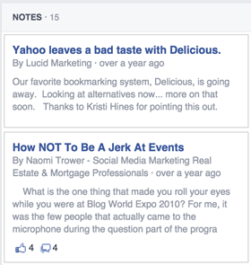 published facebook profile notes in sidebar