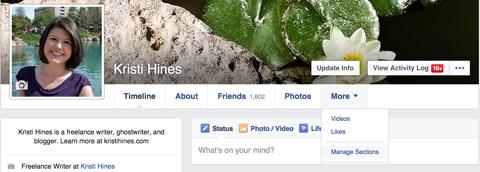 facebook profile dropdown menu