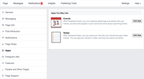 add notes feature to a facebook page