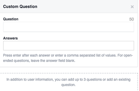 lead ad form custom questions