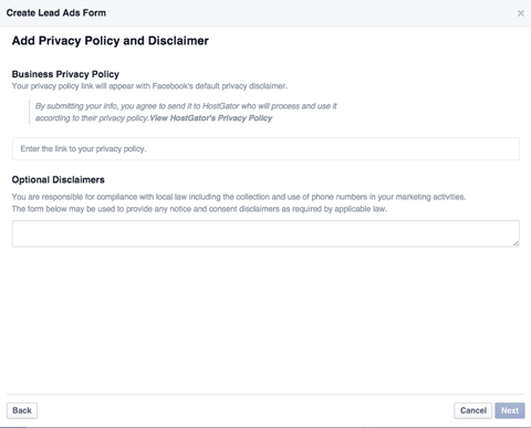 lead ad form privacy policy link