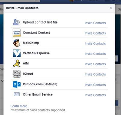 facebook page email contact import feature