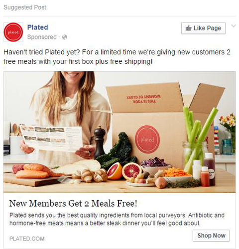 plated facebook ad