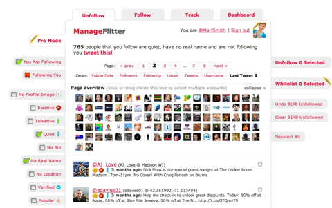 manageflitter dashboard
