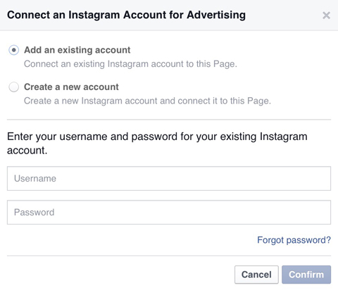 connecting instagram account to facebook