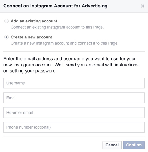 create new instagram account in facebook