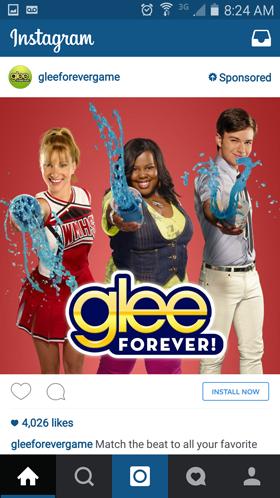 glee instagram ad