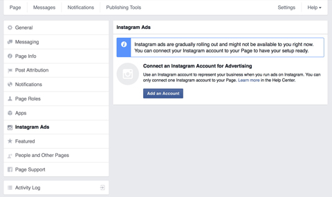 instagram ads shown in facebook settings