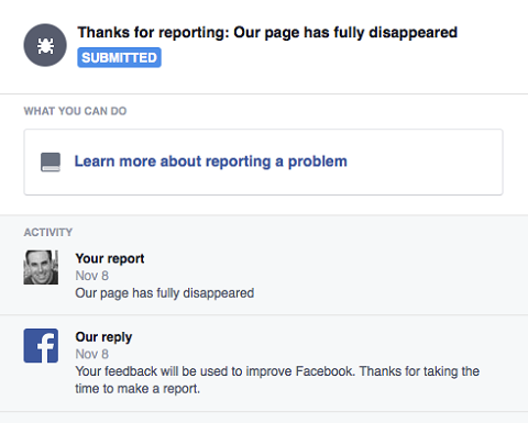 reporting missing Facebook page