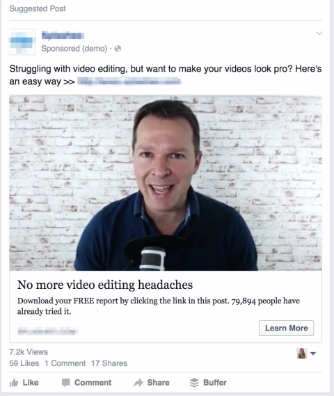 facebook video ad in news feed