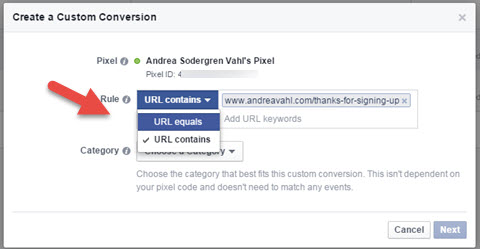 facebook custom conversions url rule