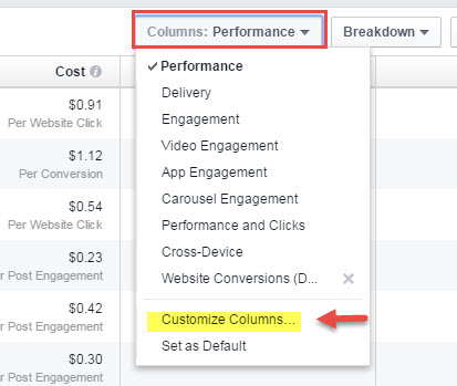 customize facebook ad report columns