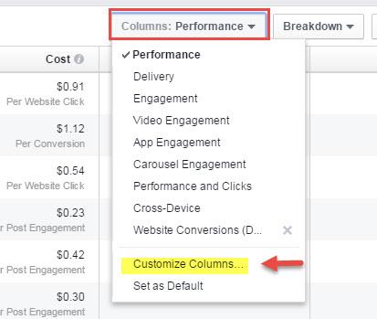 customize facebook ad report columns