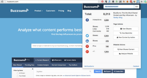 buzzsumo google chrome extension for twitter share counts