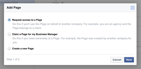 adding a facebook page to business manager