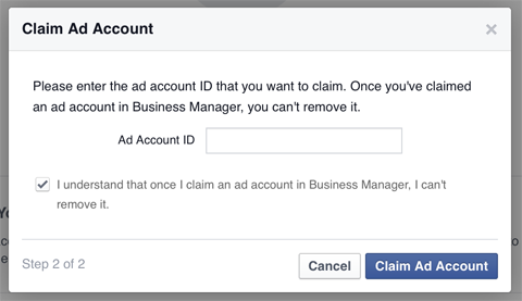 adding a an ads account to business manager