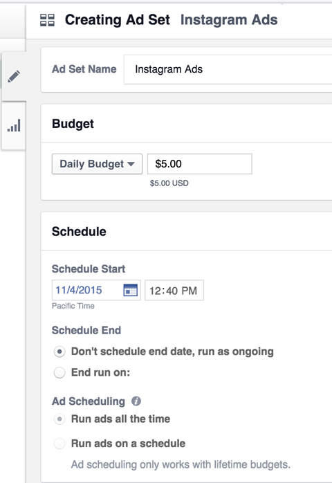 instagram ad budget and schedule