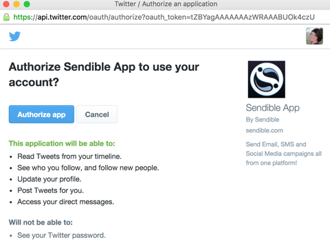 authorize account access to sendible