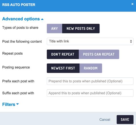 configure auto post feature
