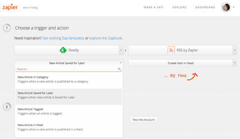 choose a trigger action in zapier