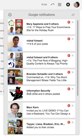 notifications for google+ actions