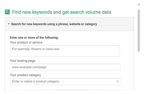 adwords keyword planner search