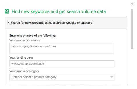 adwords keyword planner search