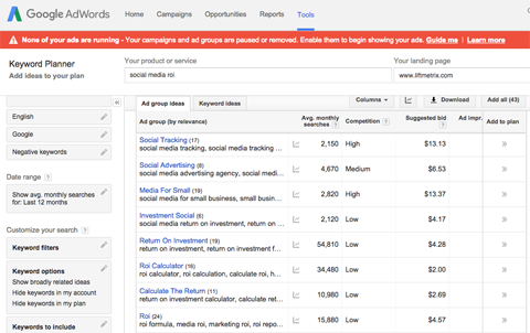 adwords keyword planner search results