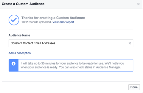 naming a custom audience in power editor