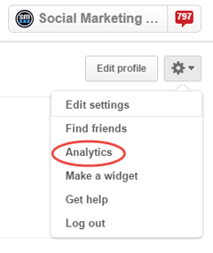pinterest analytics in menu