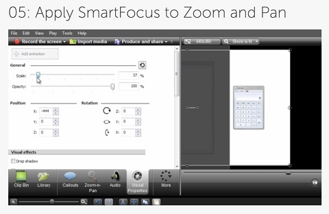 camtasia smart focus feature