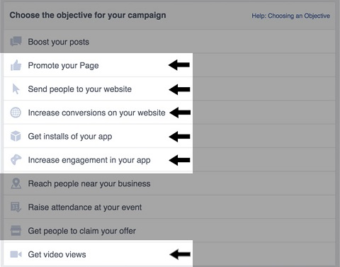 facebook ad objectives for video ads