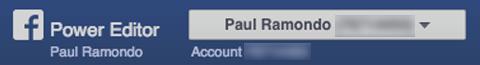 account dropdown in facebook power editor