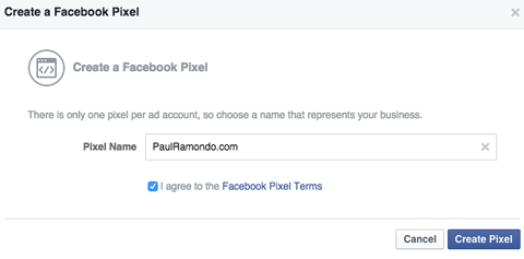 naming a facebook pixel