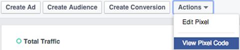 facebook actions dropdown menu