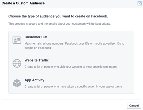 select a facebook custom audience type