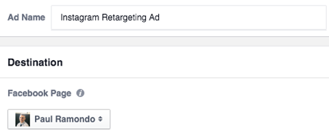 select the desitnation for a retargeting campaign