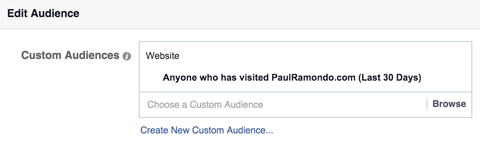 select a custom audience for a retargeting campaign
