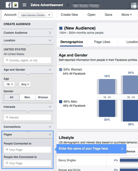 page audience selection